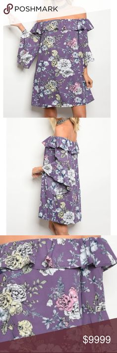 SOON Violet Purple Floral Off Shoulder Tunic Dress Violet Purple Floral Off Shoulder Shift Dress with Ruffles  100% POLYESTER Lavender Long sleeve ruffle off the shoulder tunic dress with bell sleeves golden threads Dresses