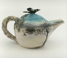"""Snowy Mountains"" Teapot Tanya Bechara Hop'n Frog Pottery."