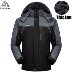 PEILOW Winter jacket men Size 5XL,6XL,7XL,8XL,9XL outwear fleece thicken warm waterproof jacket coat parka men brand clothing