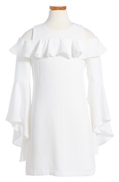 Bardot Junior Cold Shoulder Ruffle Dress (Big Girls) available at #Nordstrom