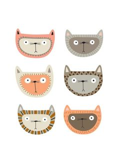 """Illustrations """"Cat Face"""" by The Box Of Birds Cat Face, Cute Illustration, Crazy Cats, Hate Cats, Bunt, Illustrations Posters, Print Patterns, Digital Prints, Character Design"""