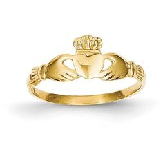 14K Yellow Gold  Claddagh Ring, face width??