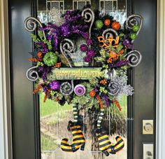 Creepy Spiral Light-Up Halloween Wreath  Witch by ATwistDivine