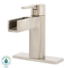 "Vega's slick lines and unique spout make this collection as interesting as it is functional. The water flows out smoothly and has a nice soft sound to it, almost Zen-like,"" is what Home Depot customer ""EllaTee"" says about this remarkable bathroom faucet. She's impressed with the quality, too. ""The brushed nickel finish is beautiful. The faucet is very heavy and feels expensive."""