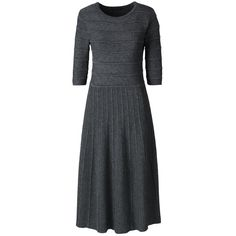 Lands' End Women's Petite Elbow Sleeve Sweater Dress ($119) ❤ liked on Polyvore featuring grey and lands' end