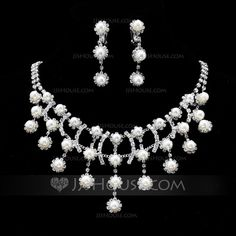 Elegant Alloy/Pearl With Rhinestone Women's Jewelry Sets (011019320)