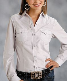 Take a look at this Roper Gray Blouse - Women & Plus by Roper & Ryan Micheals on #zulily today!