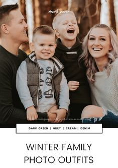 What should you wear for your winter family photo? Dark Green, Grey, Cream, and Denim look great together!