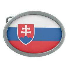 Slovakian flag Belt Buckle