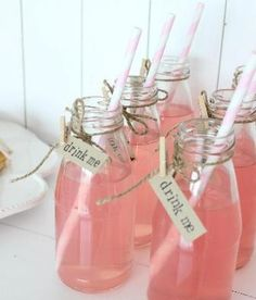 Welcome Drinks : Pink Lemonade (Alcoholic)... for the ladies!  In a little Jam Jar bottle with hessian wrapped tag!