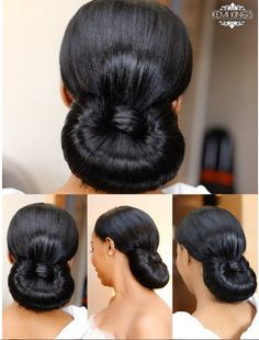 Bridal Beauty Inspiration: Structured Rolled Chignon & Romantic Makeup Created By Kemi Kings Black Brides Hairstyles, African Wedding Hairstyles, Natural Wedding Hairstyles, Bun Hairstyles For Long Hair, Dreadlock Hairstyles, Holiday Hairstyles, Bride Hairstyles, Relaxed Hairstyles, Hairstyle Ideas