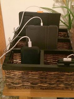 DIY charging station using mail sorter featured on Home Storage Solutions 101 Electronics Projects, Electronics Storage, Electronics Accessories, Charging Station Organizer, Docking Station, Charging Stations, Charging Center, Design Innovation, Mail Sorter
