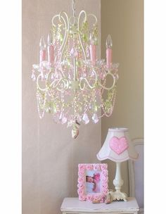 5 Light Diva Chandelier with Pink & Green Crystals  i love this chandelier for my girls' room!