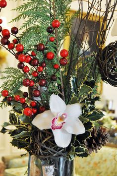 Custom Holiday Arrangement by Beneva Flowers #SarasotaFlorist #Sarasota #Christmas