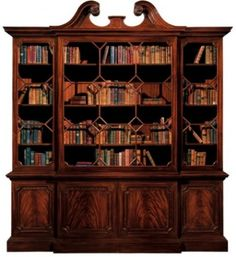 The regal Chippendale breakfront mahogany bookcase is crowned with a swan-neck dentilled pediment adorned with fish-scale carvings and ebonized mouldings Baker Furniture, Funky Furniture, Cabinet Furniture, Large Furniture, Contemporary Furniture, Living Room Furniture, Home Furniture, Furniture Design, Antique Furniture