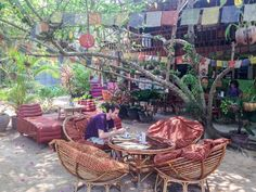 #Cambodia #travel  Vegetarian restaurant Peace Cafe offers yoga classes 2-3 times a day for $6.
