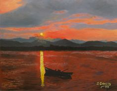 """Oil painting titled """"Red Sunset Over Lake"""", done on an 11"""" x 14"""" cardboard canvas. Available at www.etsy.com/shop/apaintedcanvas"""