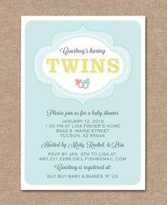 TWINS BABY SHOWER Invitation Printable Digital by kimberlyjdesign, $14.00