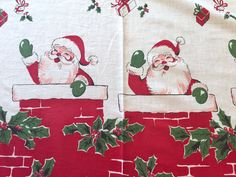 Santa Christmas Tablecloth, 1950's  Printed Cotton Fabric, Red Green White Chimneys Holly Presents, 70 x 84 rectangle by AStringorTwo on Etsy https://www.etsy.com/listing/480415601/santa-christmas-tablecloth-1950s-printed