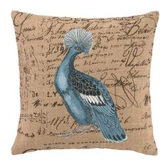 Embroidered hemp pillow with a peacock motif and feather-down fill.  Product: PillowConstruction Material: 100% ...