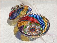 RichanaDragon     Circus. Glass salad bowls (candle holders) with colorful spiral pattern. Hand painted stained glass.     ○ SIZE: 12 (diam.) x 5 (hgt.) cm / 4.33 (diam.) x 2.17 (hgt.) inch ○ NET WEIGHT: 240 g / 0.529 lb