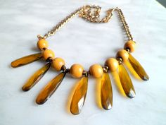 Boho Chic: Amber Drop and Wooden Bib Necklace, Boho statement Necklace with Drops, Wooden Necklace with Antique Chain on Etsy, $23.00