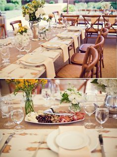 Table Decor -- pewter vases and burlap