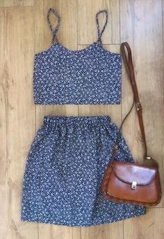Navy/white floral crop top and mini skirt set