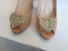 Gold glitter heart shoe clip by LexyLuxDesign on Etsy