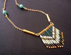 ° Collier sautoir perles en verre miyuki vert foncé et vert d'eau navajo bohème ethnique cristal hématite perle
