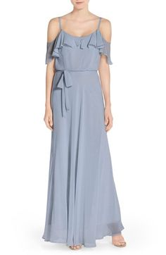 nouvelle AMSALE Cold Shoulder A-Line Chiffon Gown available at #Nordstrom  Is this slate blue? Periwinkle? Cornflower?