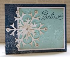 This beautiful card features Snowflake Soiree, Snow Flurry die, & Northern Flurry embossing folder. Note the shimmery background snowflakes that were stamped with  Illuminate Glimmer ink.
