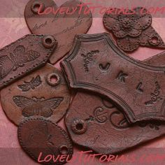 "How to make fondant ""fake leather"" tags"