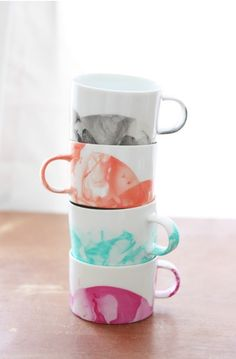 Having white or plain mugs lying around your house! Than why not decorate it! Here I dipped it in a bowl of nail polish!