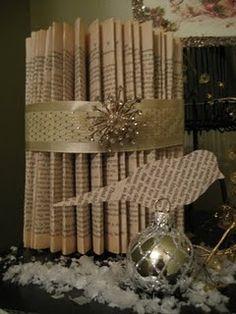 Newsprint/book page Christmas decor