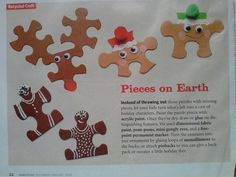 Puzzel pieces craft for Christmas