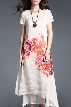 Mojaser Off-white Layered Maxi Floral Dress | Maxi Dresses at DEZZAL