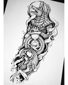 Egypt Tattoo Design, Tattoo Design Drawings, Tattoo Sleeve Designs, Tattoo Sketches, Tattoo Designs Men, Tribal Sleeve Tattoos, Horus Tattoo, Anubis Tattoo, Hamsa Tattoo