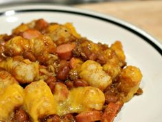 Chili Dog Casserole from Food.com: Enjoy tater tots and chili dogs in one mouth-watering dish.