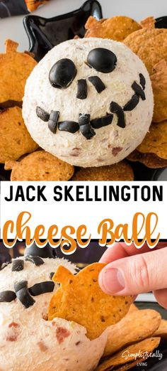 This Jack Skellington Cheese Ball is the perfect appetizer for Halloween. It combines cream cheese, bacon and few other simple ingredients to create a one-of-a-kind, no bake Halloween dip. You can serve it up alongside our Homemade Pumpkin Tortilla Chips! Halloween Dip, Easy Halloween Food, Halloween Appetizers, Halloween Ideas, Traditional Cheese Ball Recipe, High Tea Food, Gluten Free Puff Pastry, Cheese Ball Recipes, Pepper Jack Cheese