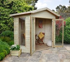 Forest Honeybourne Summerhouse | The Honeybourne Summerhouse provides a large internal space whilst fitting in the corner of the garden. The attractive apex roof allows you to make the most of the interior. Four front windows and double doors allow natural light inside, no matter the weather. Manufactured from dip treated shiplap with styrene glazing. #summergarden #sanctuary