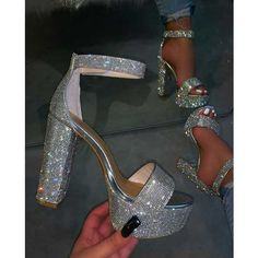 Ankle Strap Line-Style Buckle Open Toe Chunky Heel Sequin Sandals Fancy Shoes, Pretty Shoes, Me Too Shoes, Bling Shoes, Formal Shoes, Crazy Shoes, Prom Heels, Shoes For Prom, Homecoming Shoes