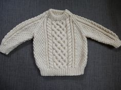 Hand knitted traditional baby aran jumper by Chalkstring on Etsy