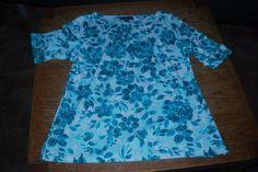 Karen Scott short sleeve white with teal floral Size Large #KarenScott #Shirt #Casual