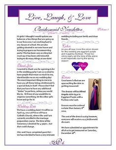 My bridesmaid newsletter! repinned Found on Weddingbee.com Share your inspiration today!