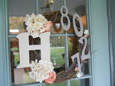 Wreath using house numbers. Cute gift idea!!