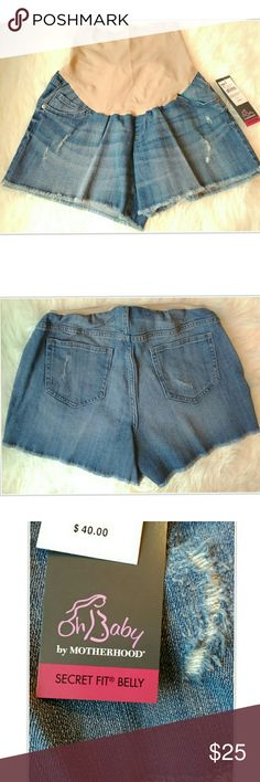 Oh Baby Distressed Denim Cut-Off Maternity Shorts Oh Baby by Motherhood Maternity Light Blue Denim Shorts. Brand New With Tags Retails for $40.00. Pictures Are Our Stock Photos So Distressing May Slightly Vary From Shown But Placement Is The Same.  Belly Bands May Have Indent From Hangers But I Have Inspected And It Does Not Have Damage.  Purchase Your Pre-Pregnancy Size, Reasonable Offers Considered.  No Trades. Oh Baby by Motherhood Shorts Jean Shorts