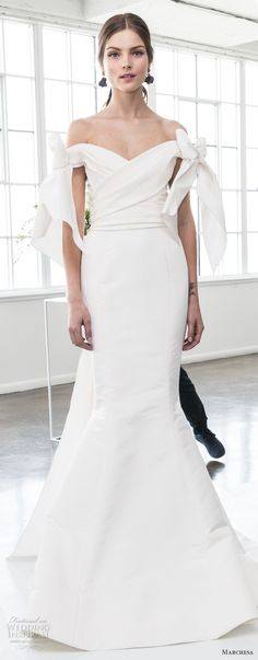 marchesa spring 2018 bridal off the shoulder v neck wrap over bodice simple clean elegant chic mermaid wedding dress open back ribbon chapel train (09) zv -- Marchesa Bridal Spring 2018 Wedding Dresses
