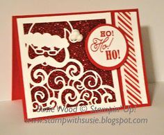 Stampin' Up!- I love this sparkly Santa card using the new Detailed Santa Thinlit Die & the coordinating 'Greetings from Santa' stamp set!