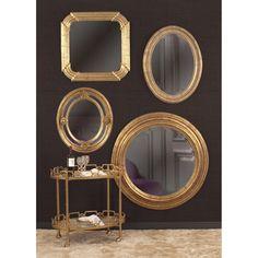 Howard Elliott Nero Gold Oval Mirror